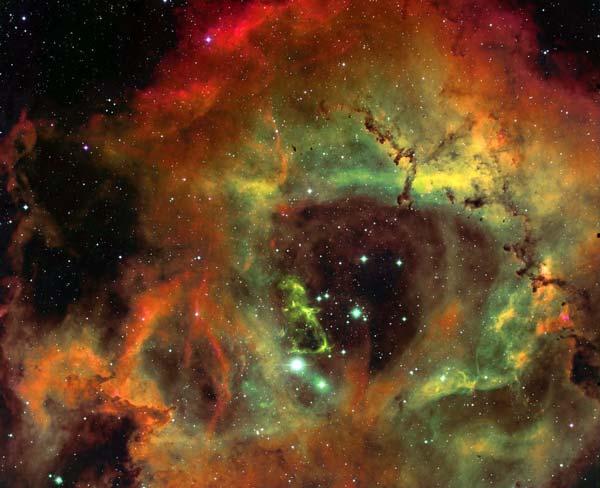 La Nebulosa Roseta en Hidrógeno, Oxígeno y Sulfuro