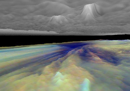 Vista 3´D de las nubes de Jupiter