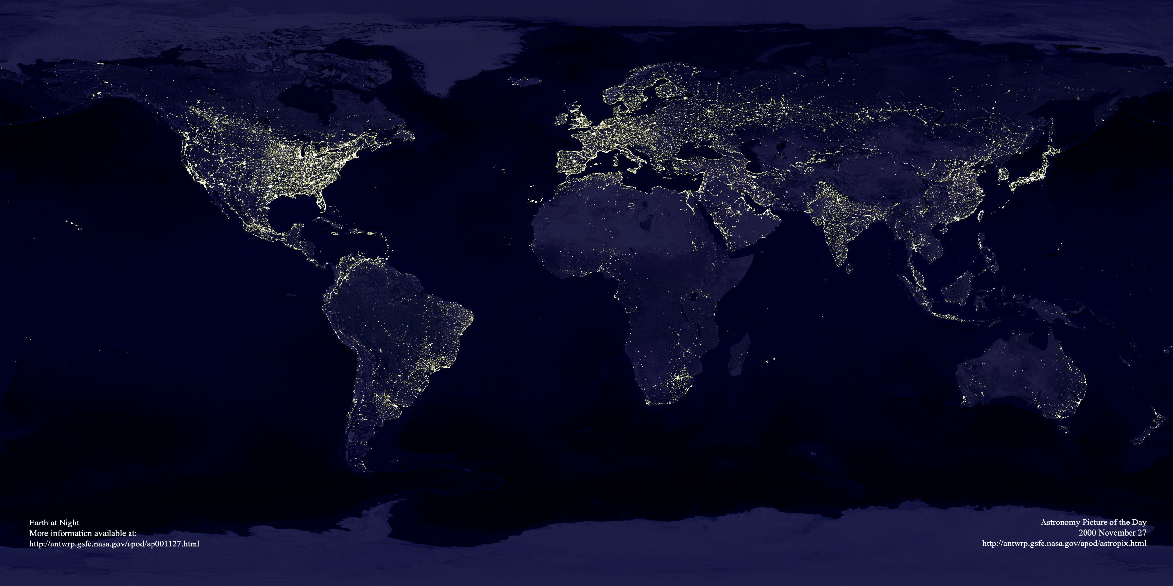 Apod 2000 november 27 earth at night clicking on the picture will download the highest resolution version available earth at night gumiabroncs Images