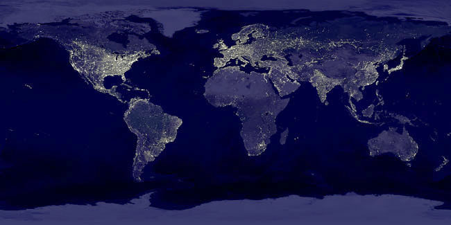 World population distribution, as revealed by night pictures of Earth's city lights (NASA composite image)