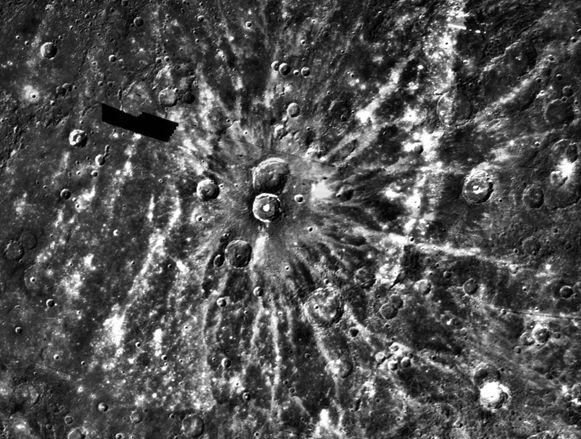 El cráter de rayos Degas sobre Mercurio