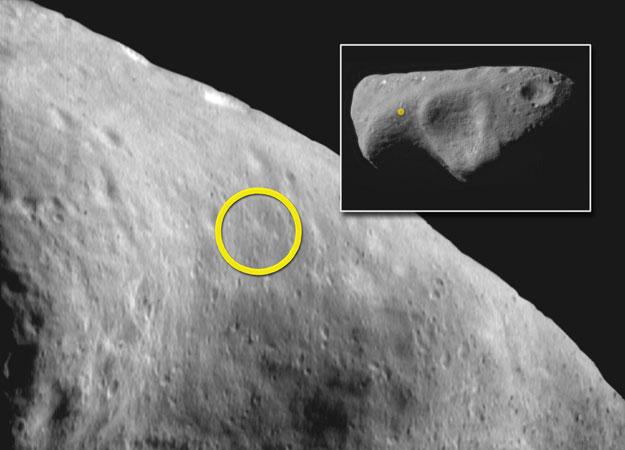 Zona de aterrizaje sobre el asteroide Eros
