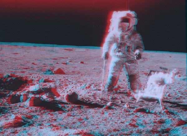 Apollo 12: Stereo výhled nedaleko kráteru Surveyor