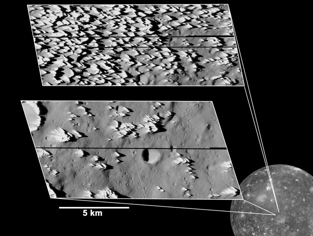Colinas dentadas en Calisto, el satélite de Júpiter