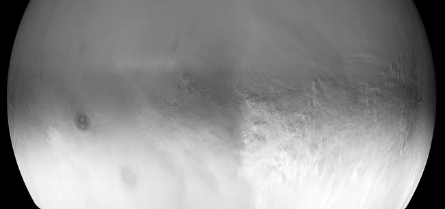 Una tormenta de polvo global en Marte