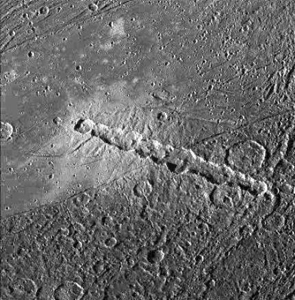 Ganimedes: Cometa rasgado – Cadena de crateres