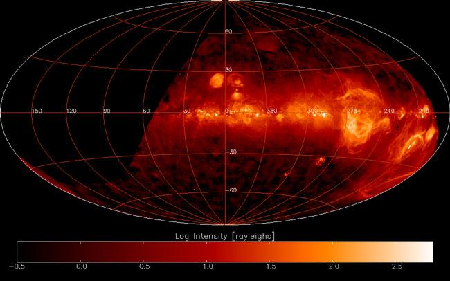 El cielo del Sur en hidrógeno caliente