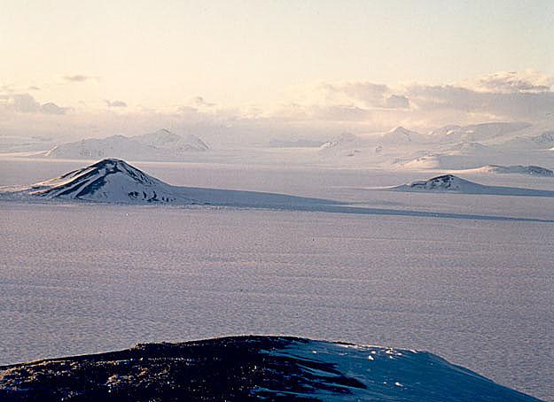 Vista helada en la Antártida