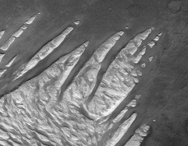Dedos de roca blanca en Marte