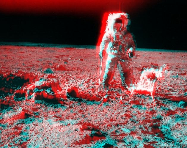 Apolo 12: Vista Estéreo Cerca del Cráter Surveyor