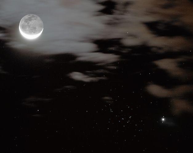 Júpiter, Lunas y el cúmulo del Pesebre
