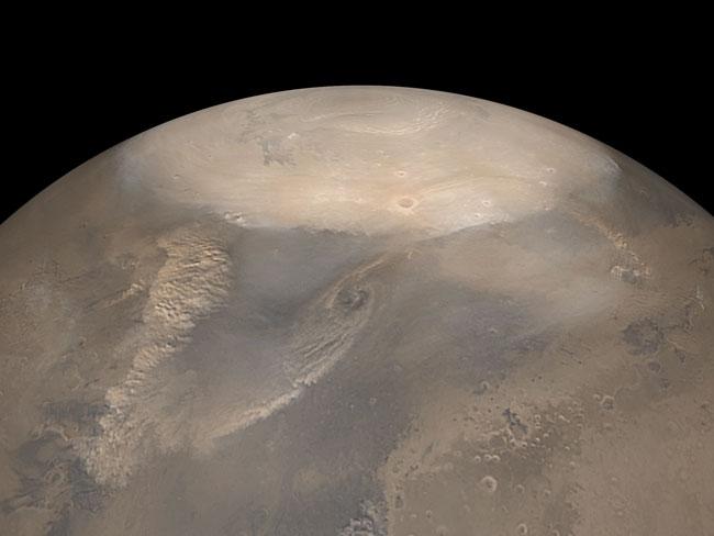 Tormentas de polvo primaverales en el Polo Norte Marciano