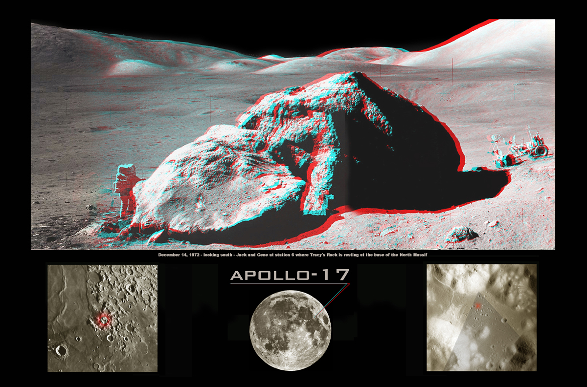 Apod 2003 January 11 Apollo 17 Boulder In Stereo