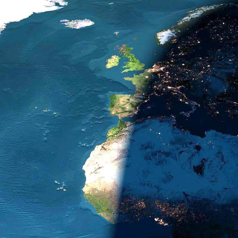 Digital Sunset over Europe and Africa