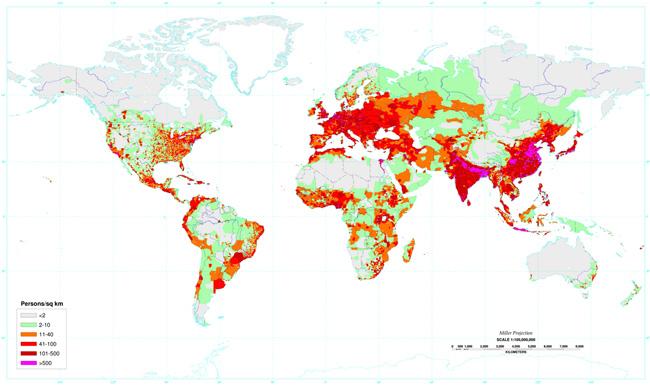 Donde vive la gente en el planeta Tierra