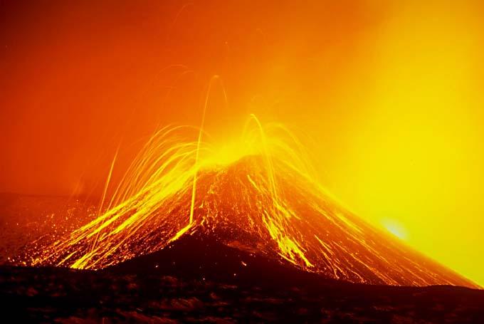 APOD: 2003 April 16 - Magna Bubbles from Mt Etna