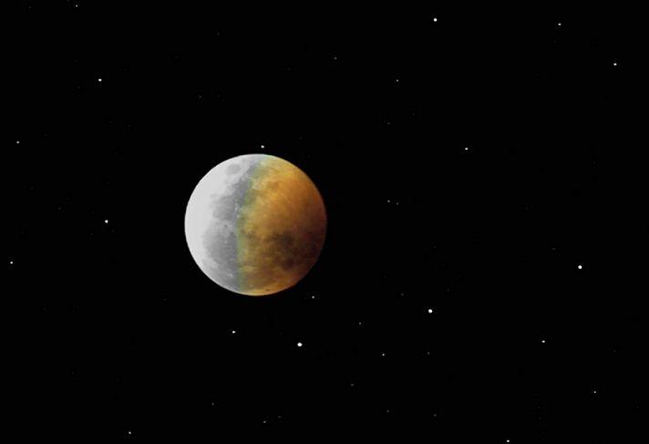 La Luna se eclipse ante las estrellas