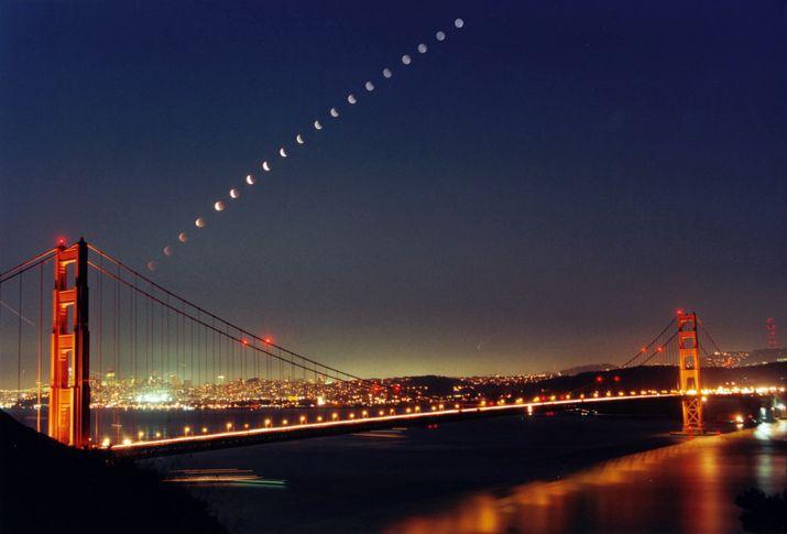Luna oculta tras el Golden Gate