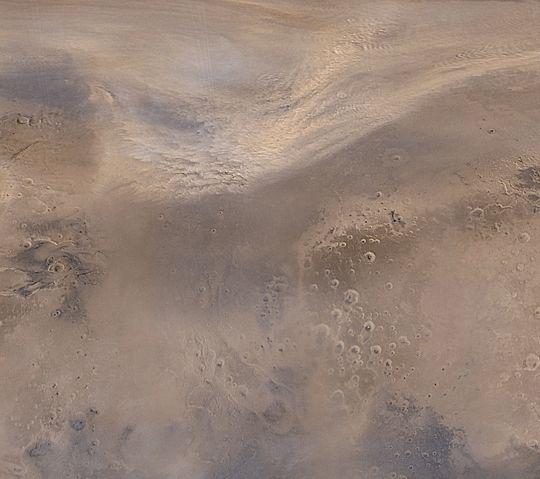 Tormenta de polvo en el norte de Marte