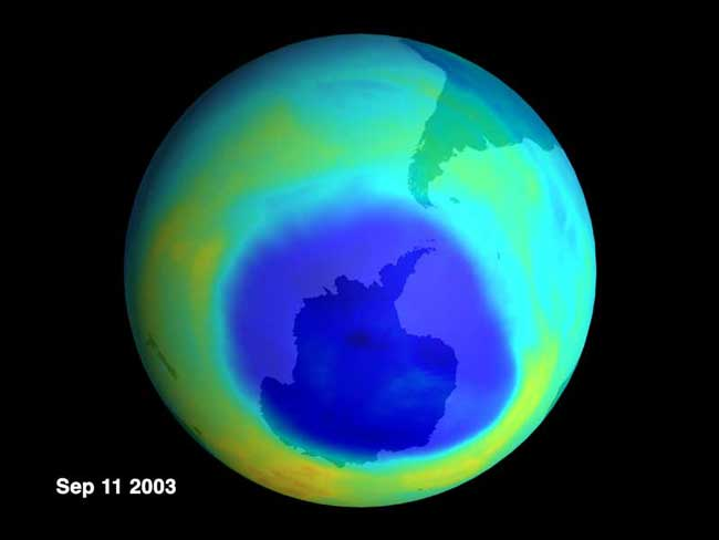A Near Record Ozone Hole in 2003