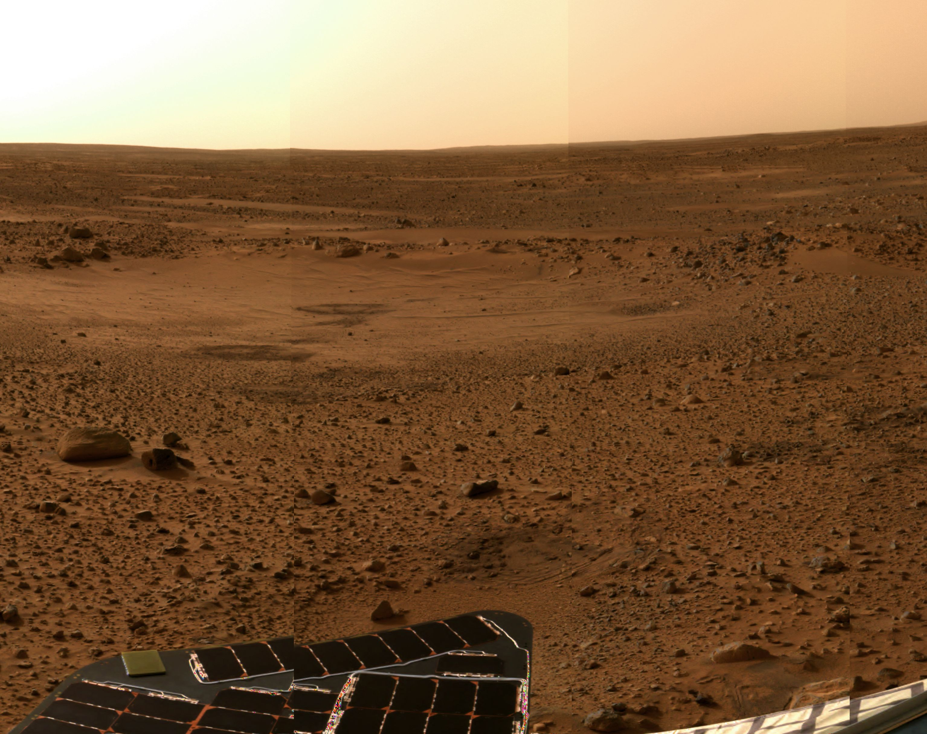 APOD: 2004 January 9 - Sol 5 Postcard from Mars