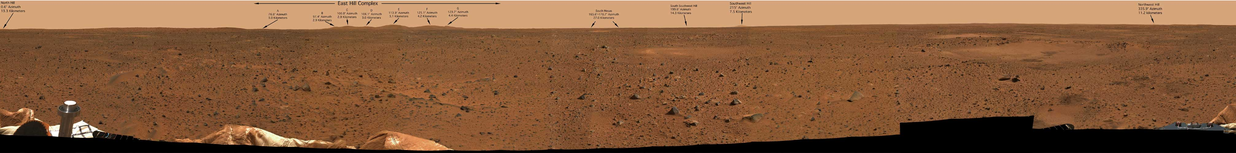 Panorámica de Marte tomada por el robot todoterreno Spirit