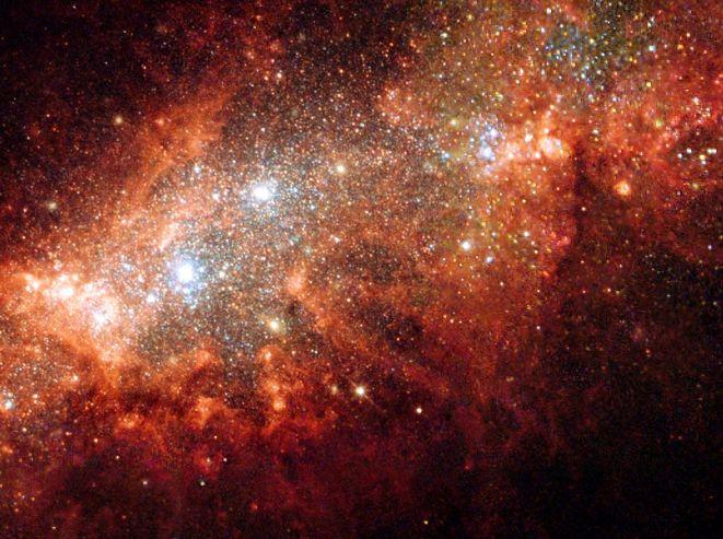 NGC 1569: Starburst v malé galaxii