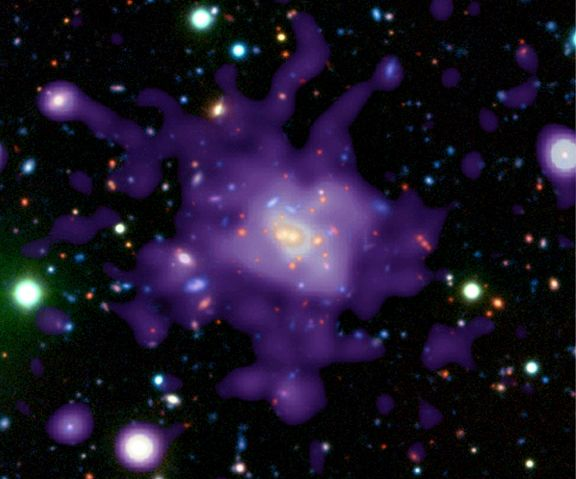 Cúmulo de galaxias en el universo joven