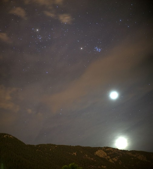 La Luna y los planetas en el cielo