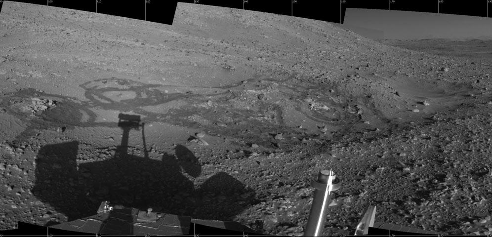 El rover Spirit en las Engineering Flats de Marte