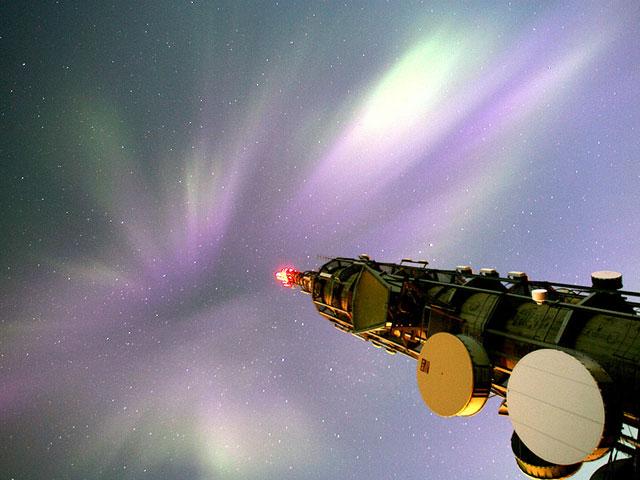Aurora Más de una torre de comunicaciones