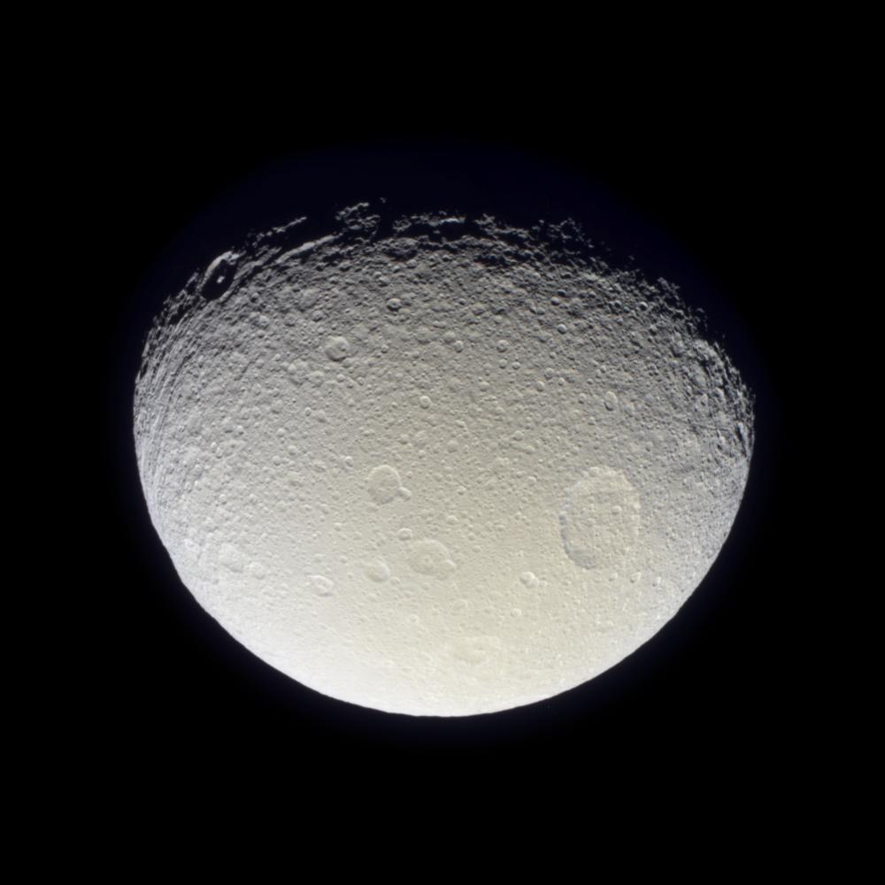 apod 2004 november 29 saturns moon tethys from cassini