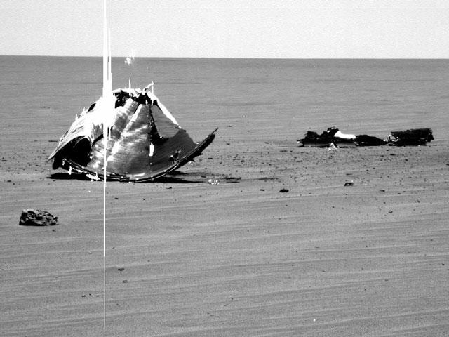 Metal sobre las llanuras de Marte