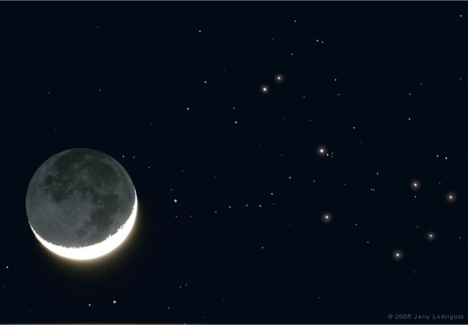 Luna de abril y las Pléyades