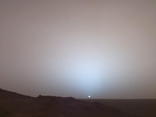 Puesta de sol en el cráter Gusev