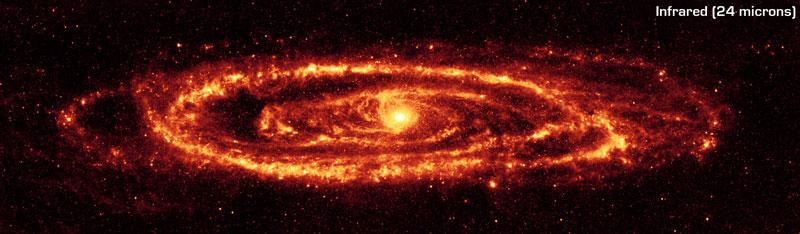 La galaxia Andrómeda en infrarrojo