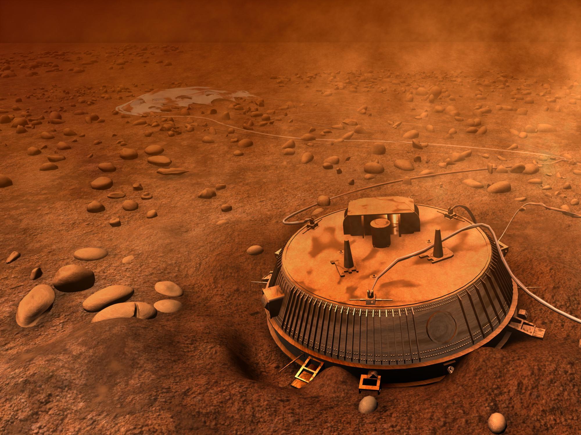 APOD: 2006 January 31 - Huygens on Titan Illustrated