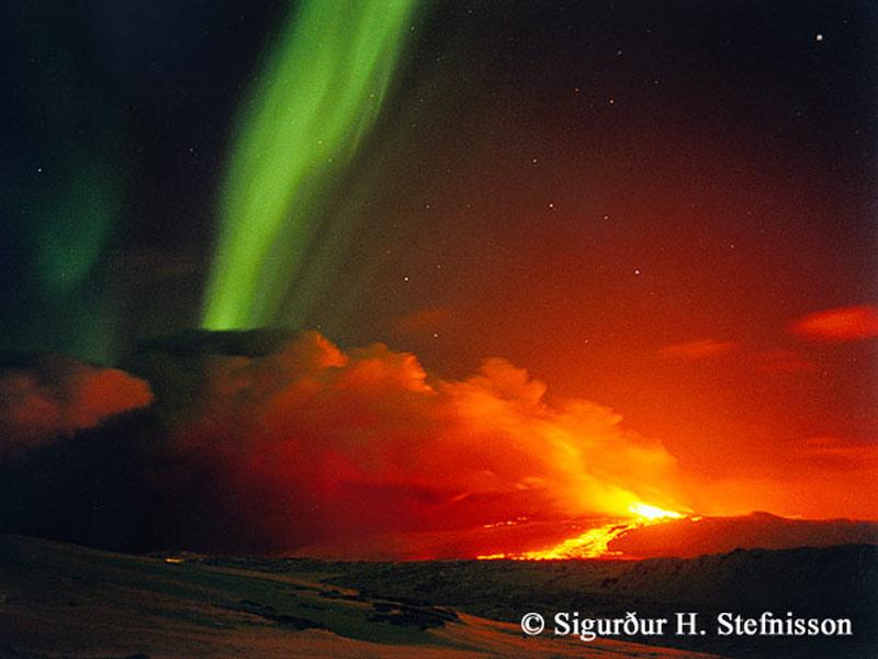 APOD: 2006 January 29 - Volcano and Aurora in Iceland