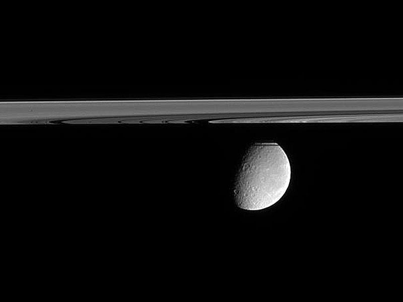 Justo por debajo del plano de los anillos de Saturno