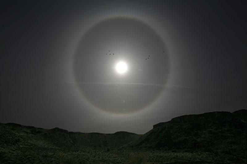 Un halo solar sobre Utah
