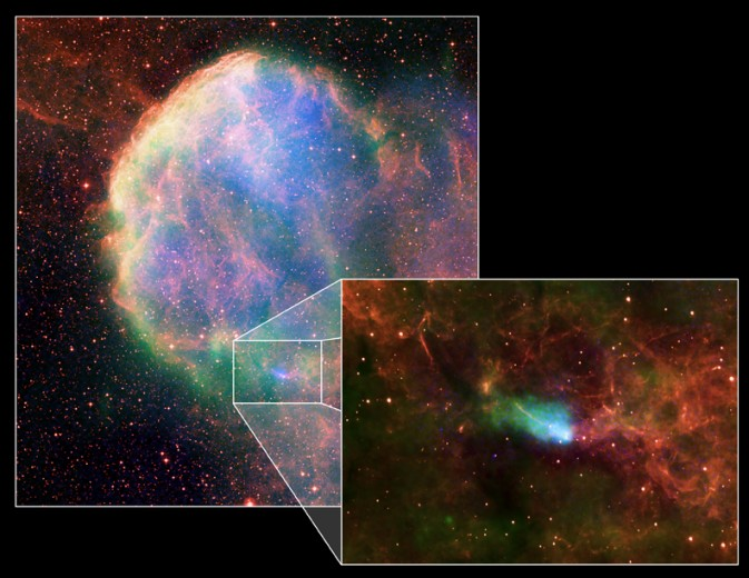 IC 443: Zbytek supernovy a neutronová hvězda