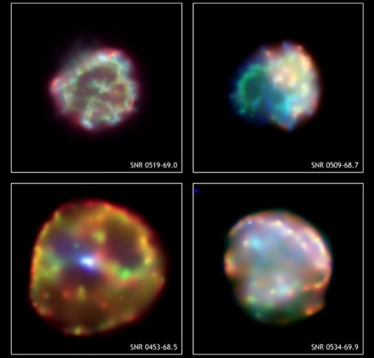 Cuatro restos de supernova