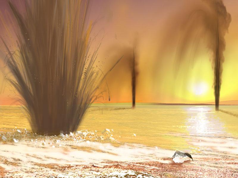 ¿Chorros de gas y arena en Marte?