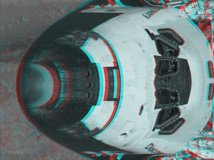 Anaglifo del orbitador Discovery