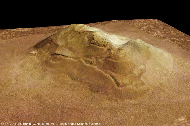 Profil The Face on Mars yang sesungguhnya yang diambil dari Mars Express pada tanggal 25 September 2006 (dok. NASA)