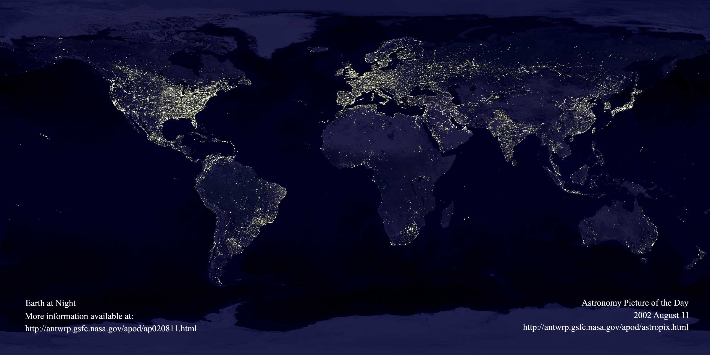 APOD: 2006 October 1- Earth at Night