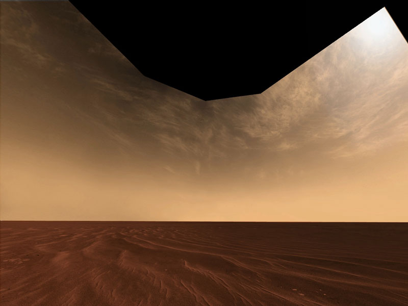 Clouds and Sand on the Horizon of Mars