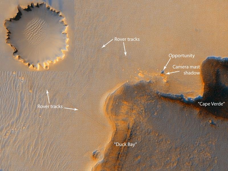Robot marciano en el Cráter Victoria, desde la órbita