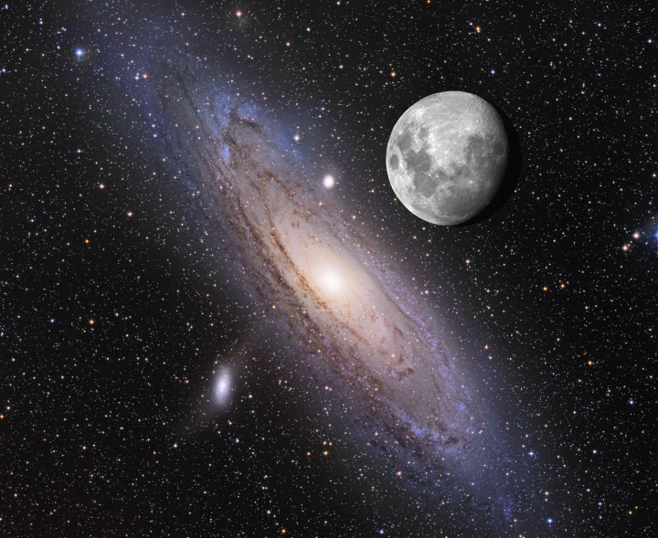 Andromeda and Moon Together with correct relative Angular Width (Credit: Adam Block and Tim Puckett)