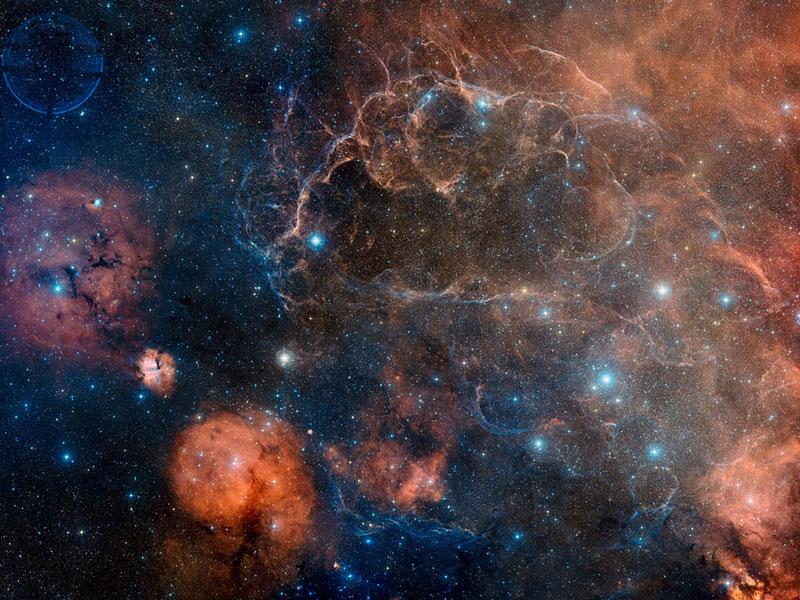 Restos de la supernova Vela en el espectro visible